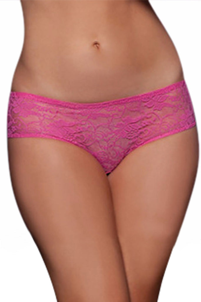 Crotchless Lace Ruffle-Back Panties