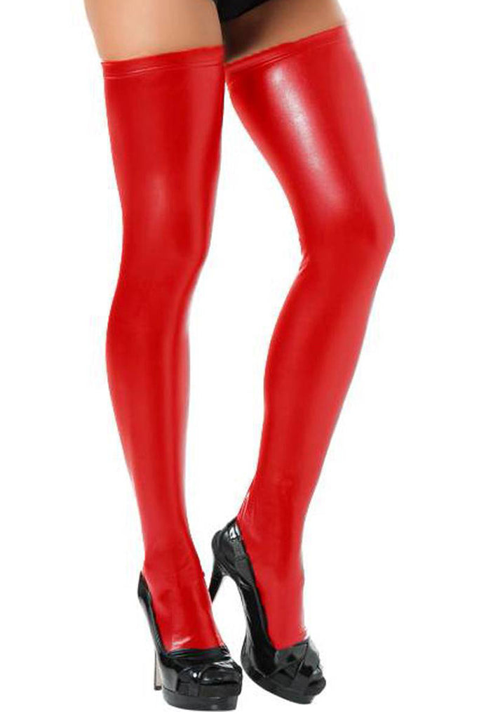 Wet Look Faux Leather Thigh High Stockings