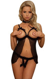 Open Cup Crotchless Sheer Babydoll Set