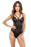 Women One Piece Lingerie Deep V Teddy Lace Bodysuit Mini Babydoll