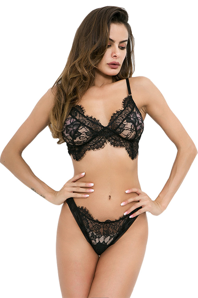 Women's Lace Lingerie Bra and panties Set Strappy Babydoll Bodysuit