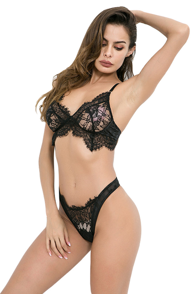 Women's Lace Lingerie Bra and Panties Set Strappy Bodysuit