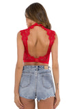 Women's Mock Neck Lace Strappy Party Club Crop Top