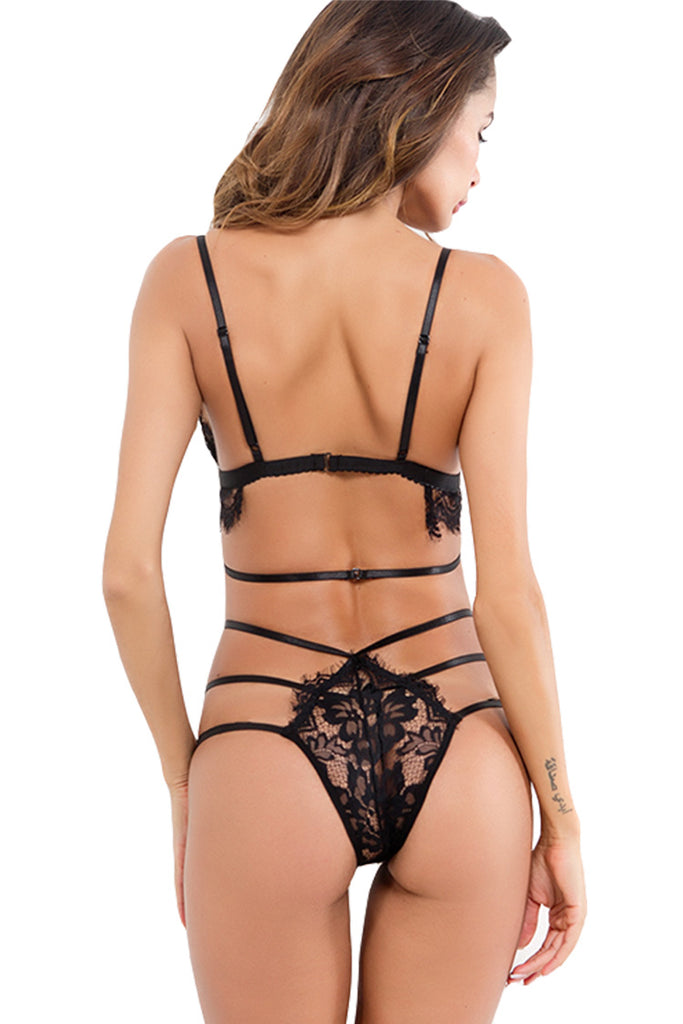Womens Sexy Strappy Lace Lingerie Bra and Panties 2pc Set
