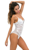 Women's One Piece Mesh Lace Bodysuit Lingerie