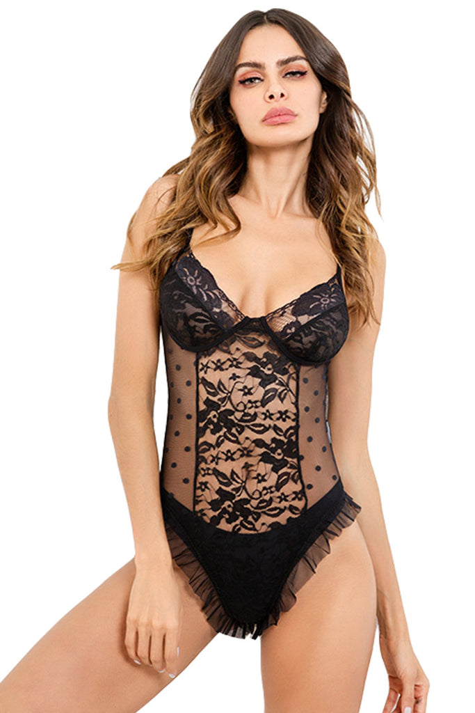 Ruffled Lace Bodysuit One Piece Lingerie for Women