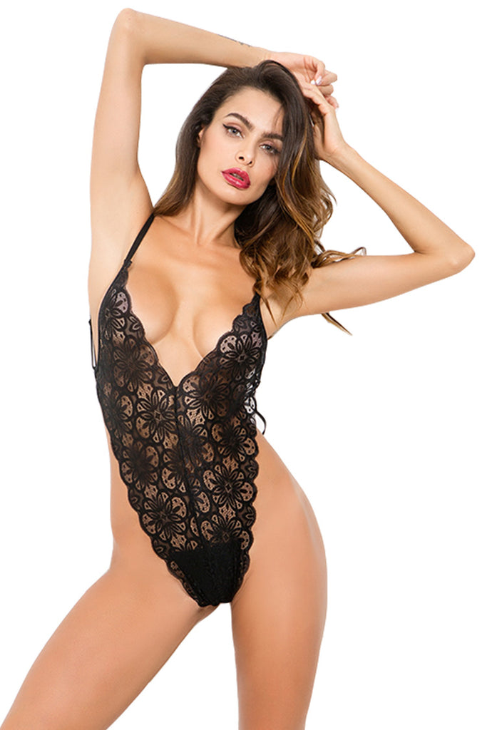 Women Teddy Lingerie One Piece Babydoll Lace Mini Bodysuit