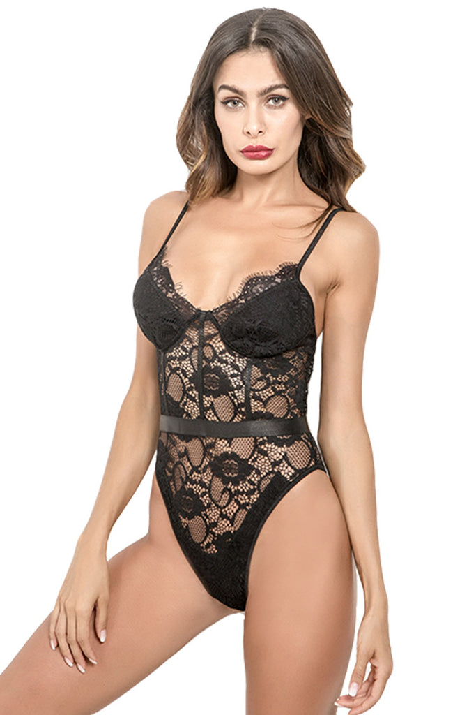 Women Plunge Eyelash Lace Bodysuit