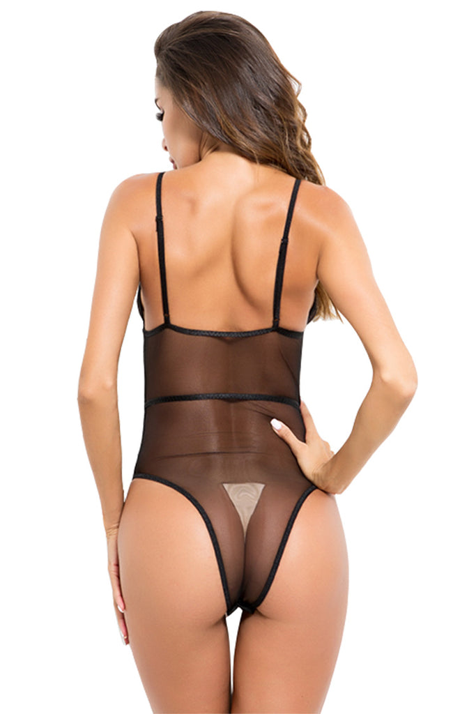 One Piece Women Deep V Strappy Lace Bodysuit