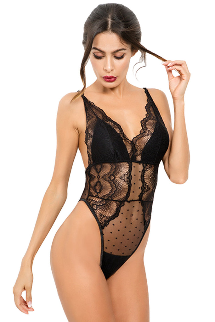 One Piece Lace Babydoll Bodysuit Lingerie for Women