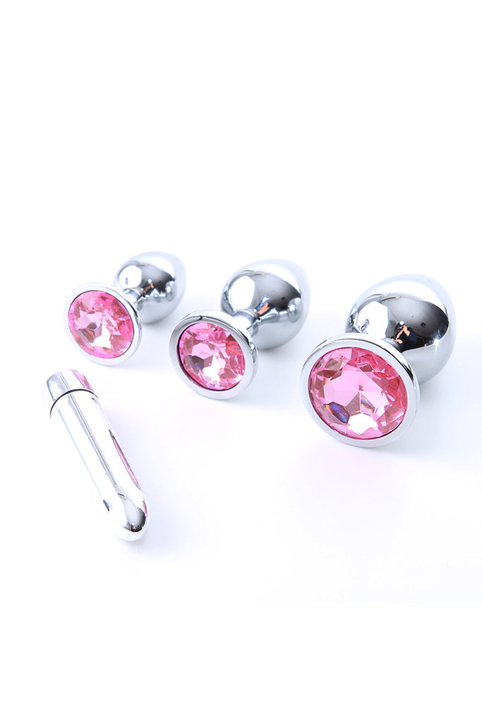 3pcs Crystal Anal Plug with Bullet Vibrator