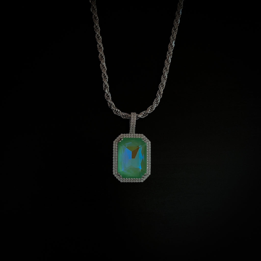 Drop #12: Fluorescent Gem Necklace- Lime (.925 Sterling Silver)