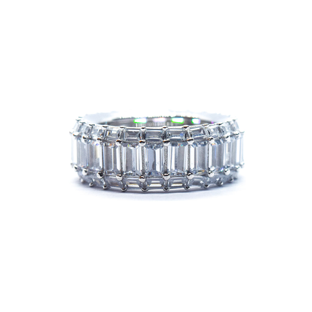 Iced Three-Row Emerald Cut Ring (.925 Sterling Silver)
