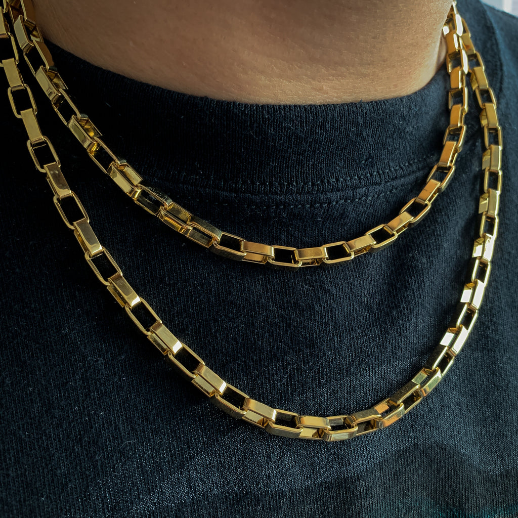 6mm Rectangular Chain (18K Yellow Gold/Stainless Steel)