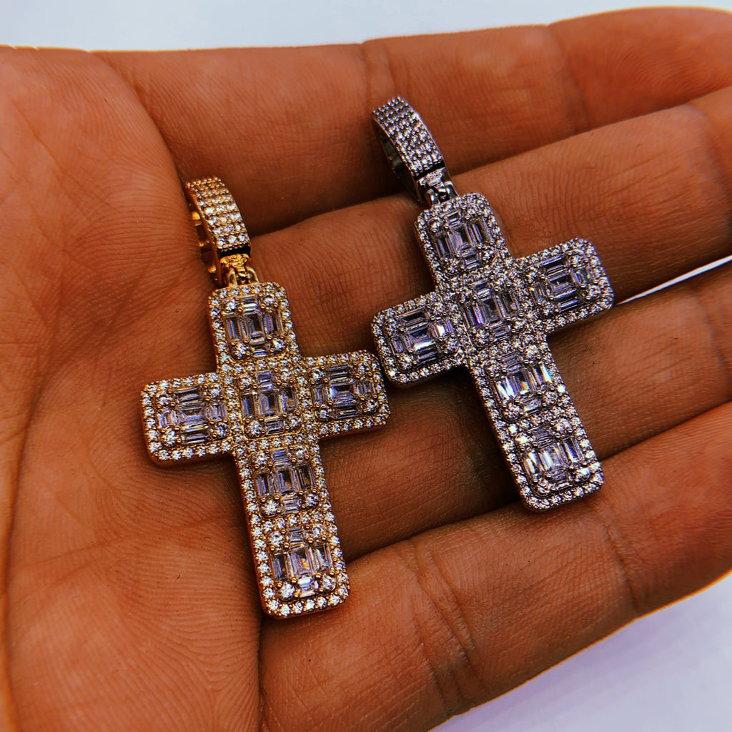 Iced Baguette Cross Pendant (14k White Gold) - Kuyashii Jewelry