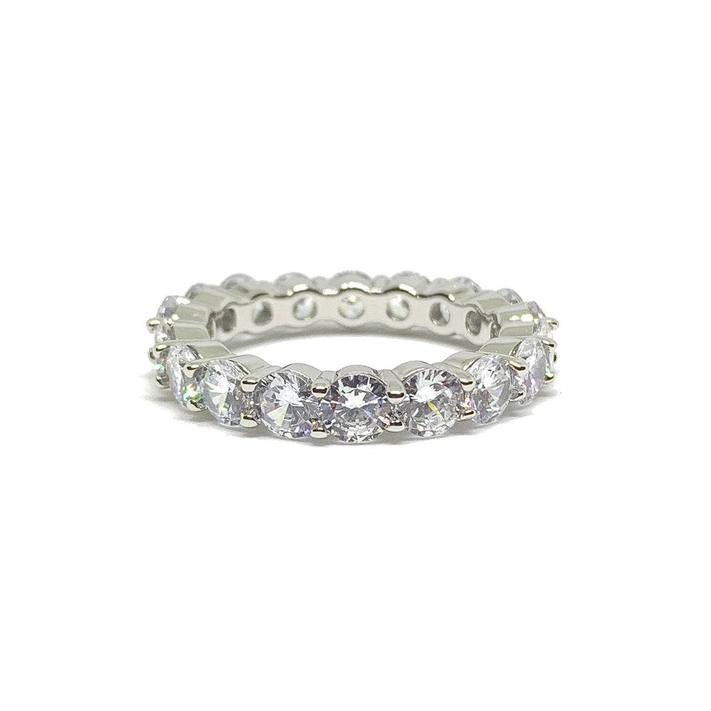 Single Row Tennis Ring (14k White Gold) - Kuyashii Jewelry