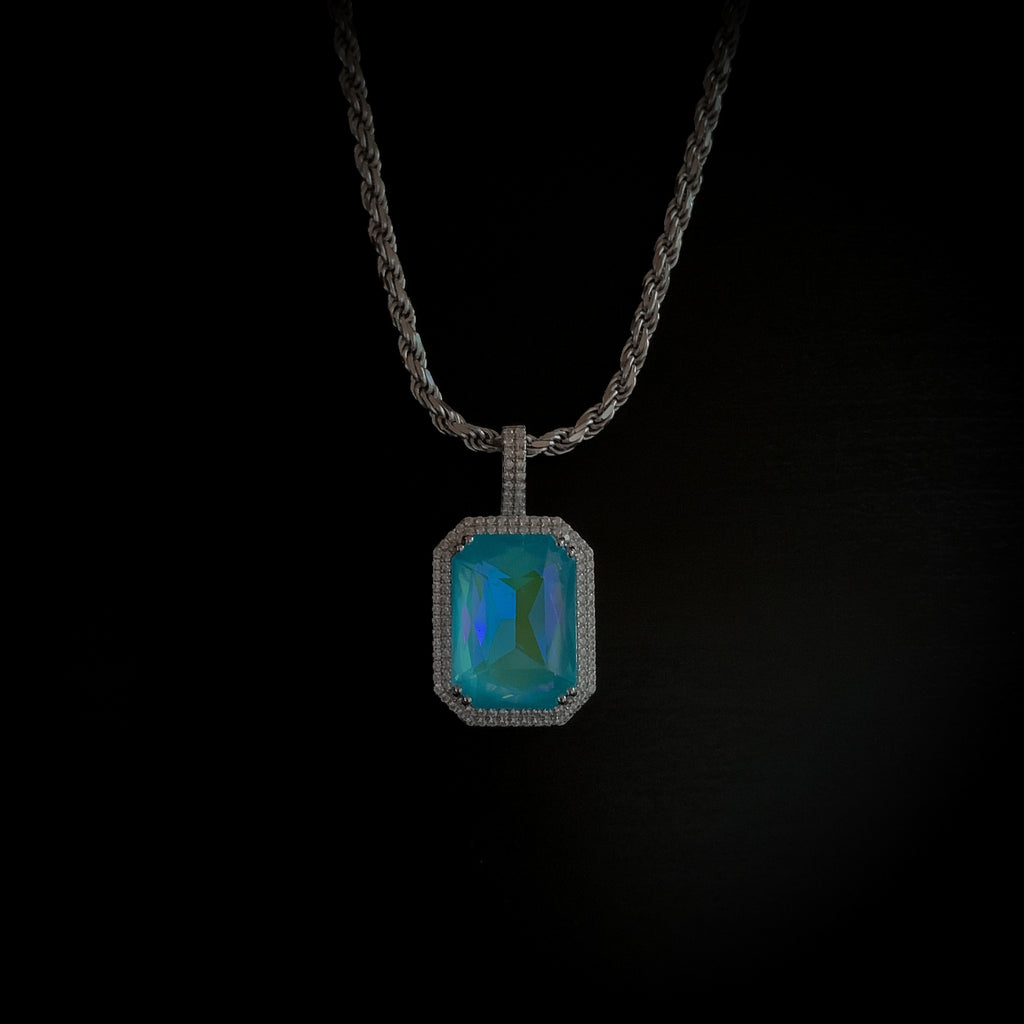 Drop #8: Fluorescent Gem Necklace- Lagoon (.925 Sterling Silver)