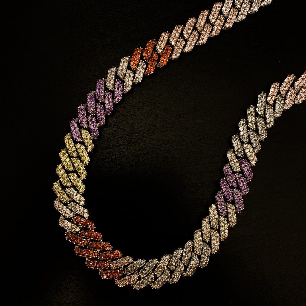 Drop #4: 12mm Iced Multicolor Sharp Cuban Choker (18K White Gold)