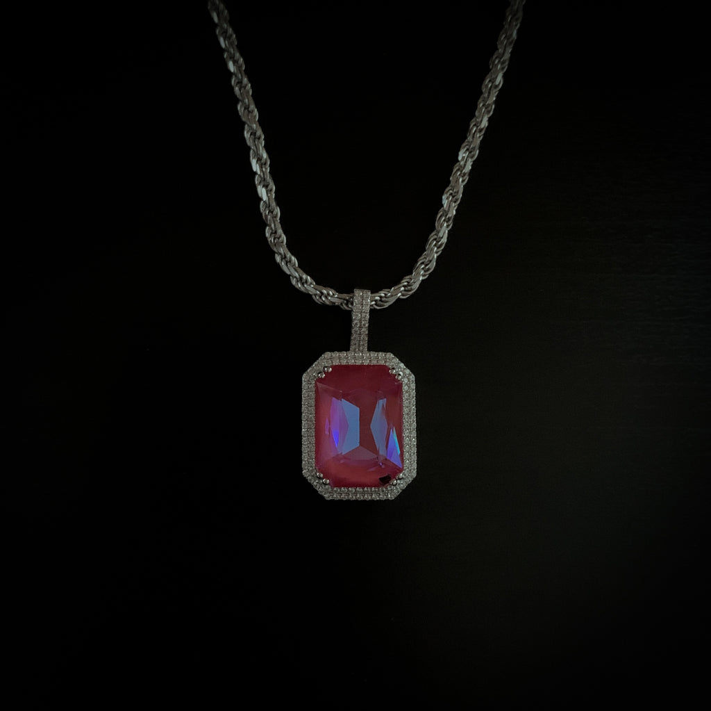 Drop #13: Fluorescent Gem Necklace- Raspberry (.925 Sterling Silver)