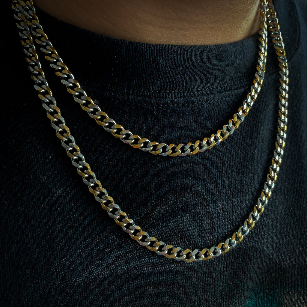 6mm Tie-Dye Cuban Chain (Two-Tone/Stainless Steel)