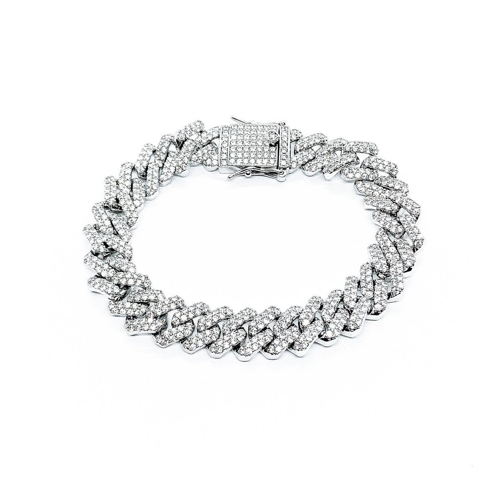 12mm Iced Sharp Cuban Bracelet (14k White Gold) - Kuyashii Jewelry