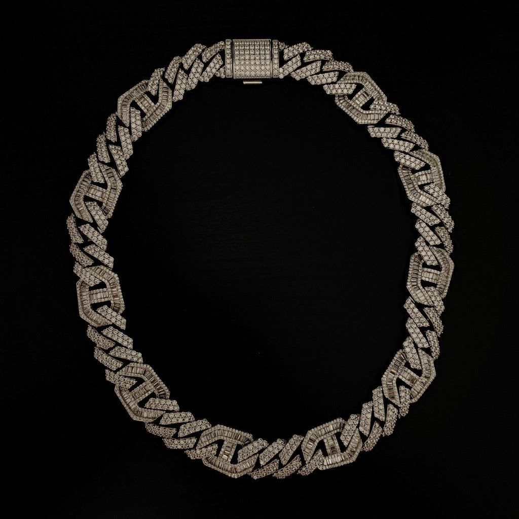 Drop #3: 15mm Iced Mariner Station Chain (18K White Gold)