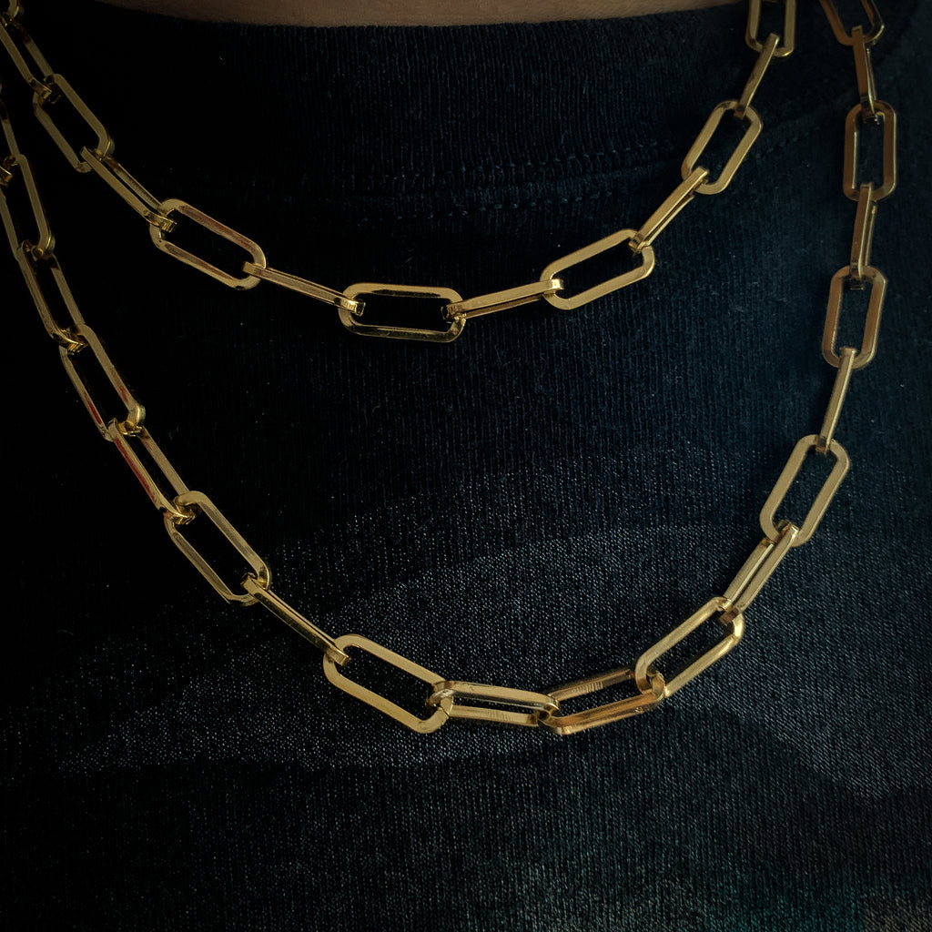7mm Long Oval Chain (18K Yellow Gold/Stainless Steel)
