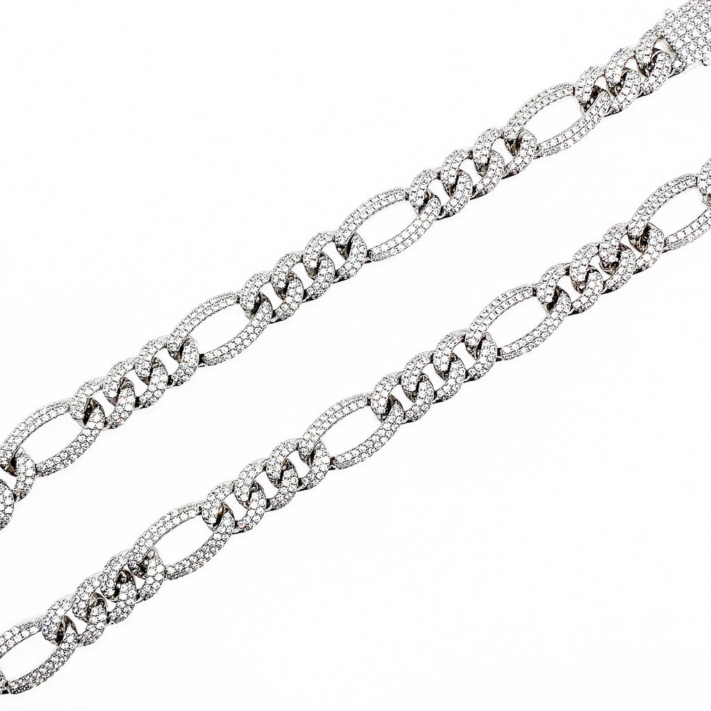 12mm Iced Figaro Chain (18K White Gold/Brass)