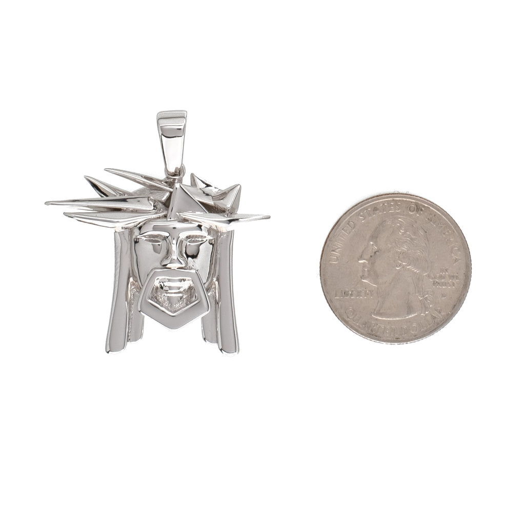Abstract Jesus Piece Pendant (18K White Gold/Brass)