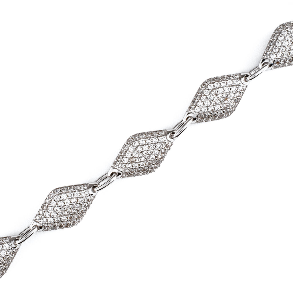 12mm Iced Diamond Bracelet (18K White Gold/Brass)