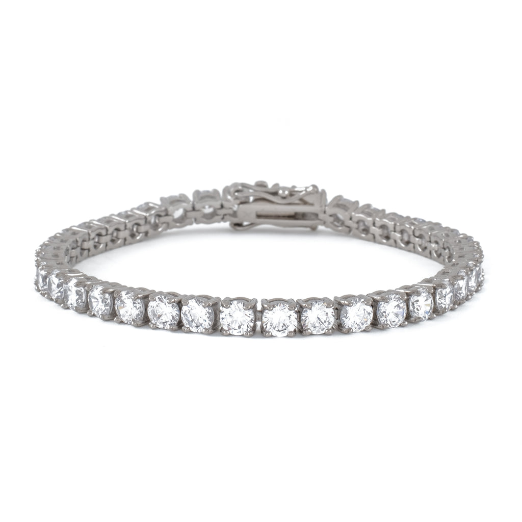 5mm Round Cut Tennis Bracelet (18K White Gold/Stainless Steel)
