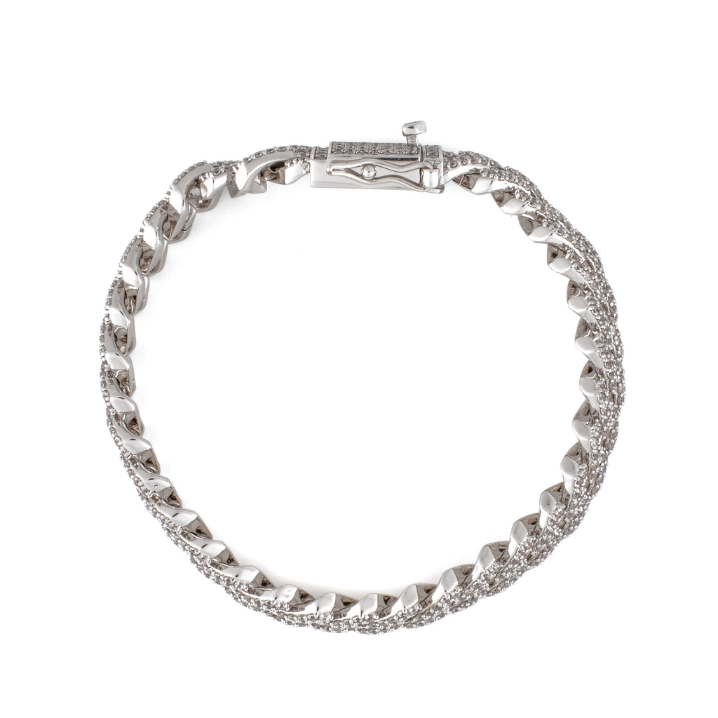 12mm Iced Sharp Cuban Bracelet (18K White Gold/Brass)