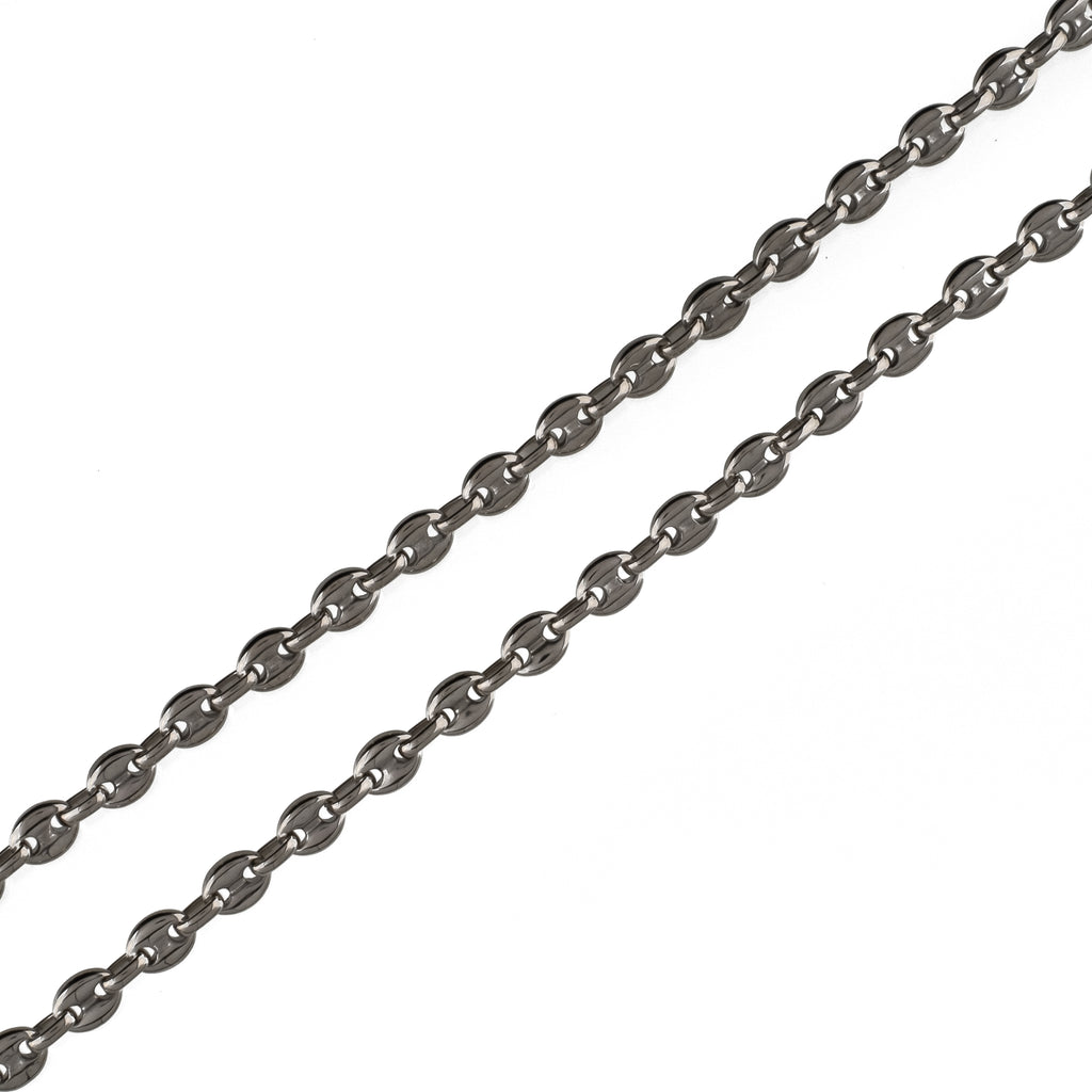 6mm Gucci Link Chain (18K White Gold/Stainless Steel)