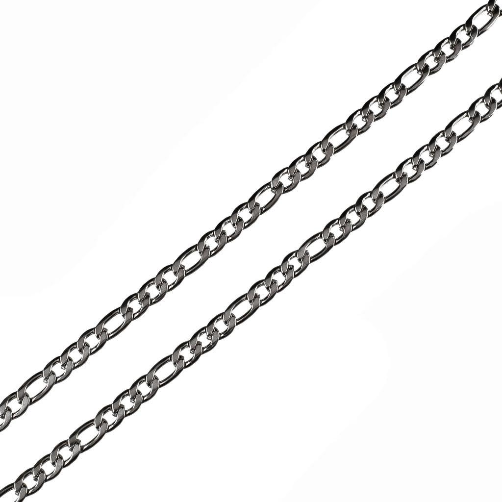 6mm Plain Figaro Chain (18K White Gold/Stainless Steel)