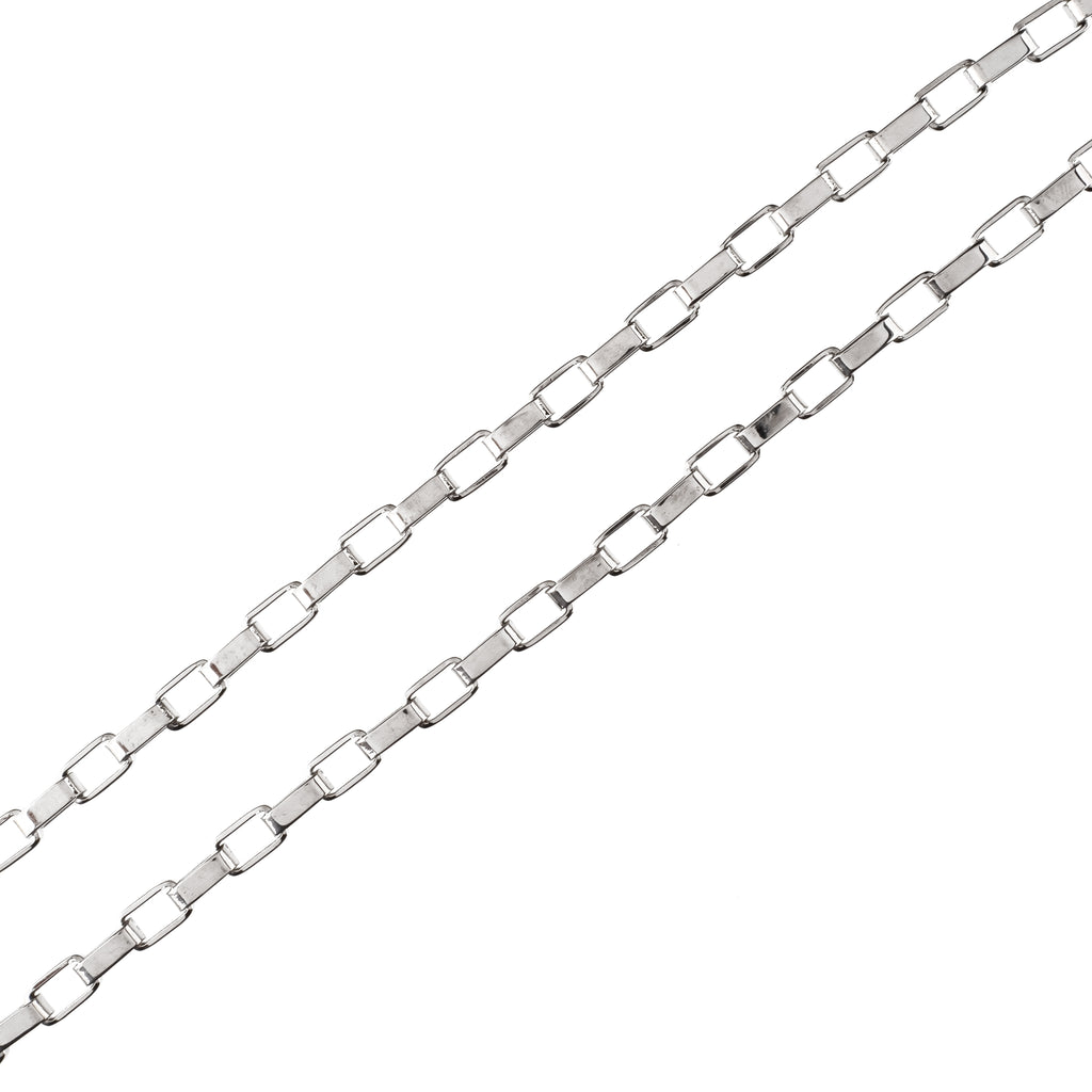 6mm Rectangular Chain (18K White Gold/Stainless Steel)