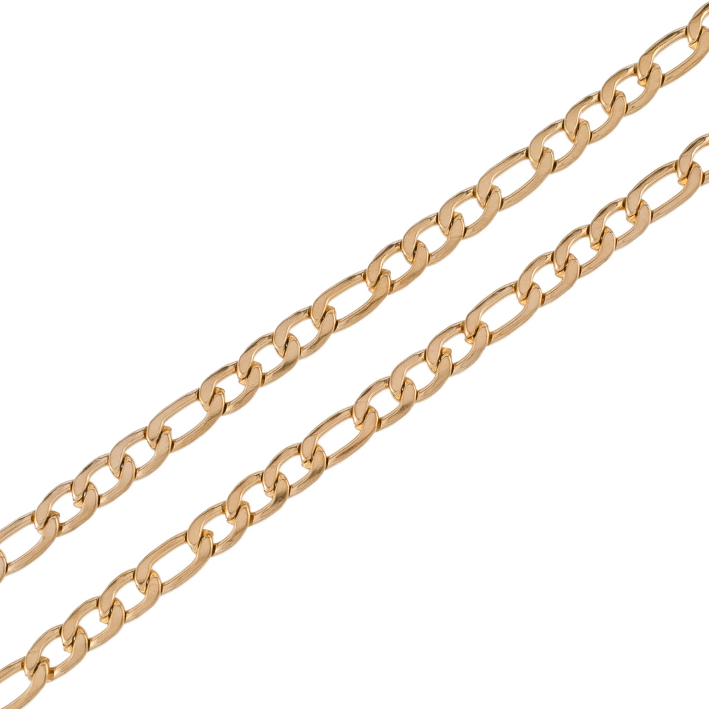 6mm Plain Figaro Chain (18K Yellow Gold/Stainless Steel)