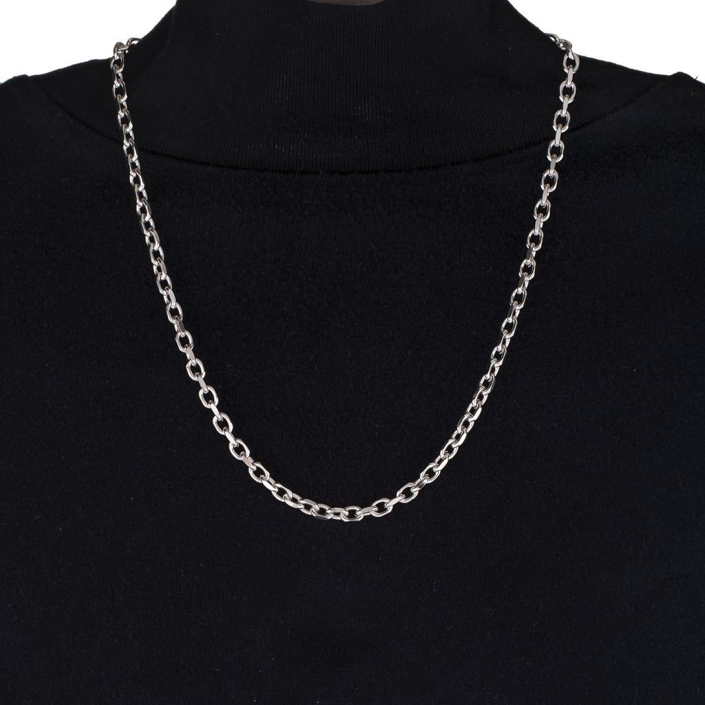 3mm/5mm Square Cable Chain (18K White Gold/Stainless Steel)