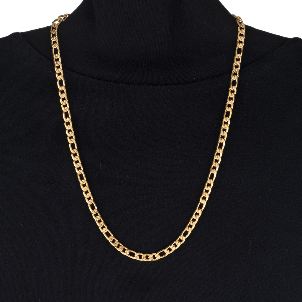 6mm Textured Figaro Chain (18K Yellow Gold/Stainless Steel)