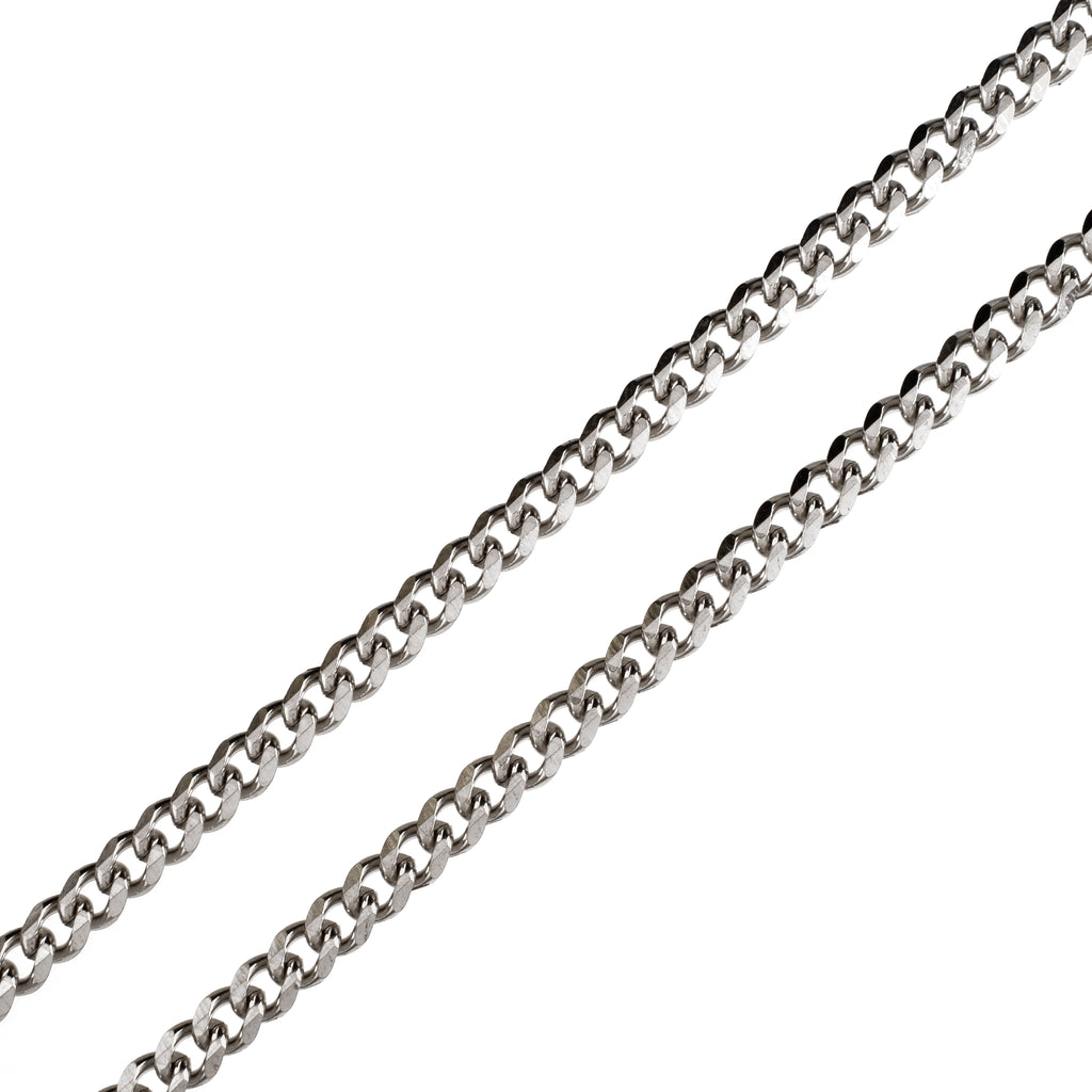 6mm Cuban Chain (18K White Gold/Stainless Steel)