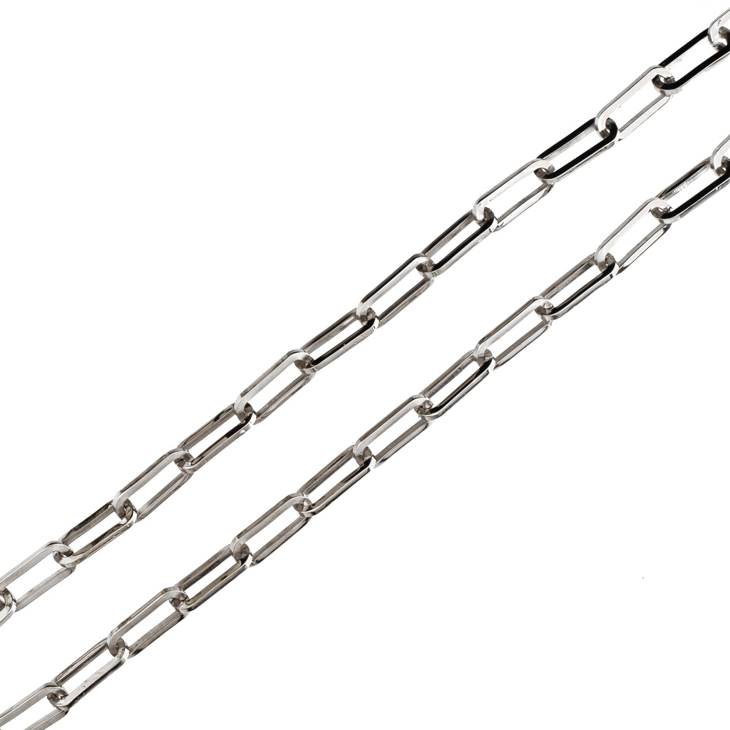 7mm Long Oval Chain (18K White Gold/Stainless Steel)