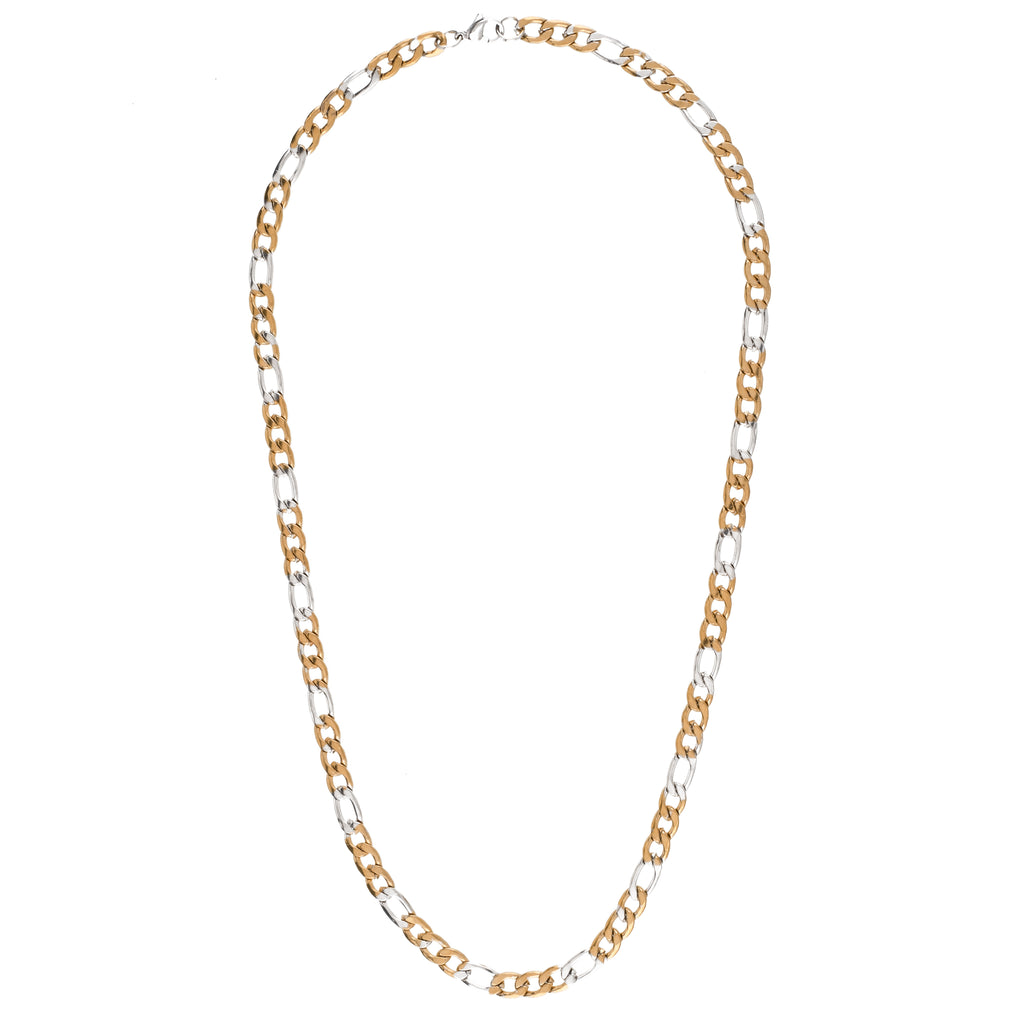6mm Two-Tone Figaro Chain (Stainless Steel)
