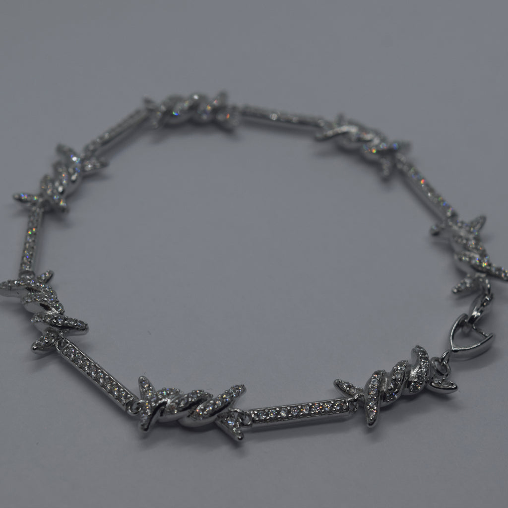 Iced Barbed Wire Bracelet (.925 Sterling Silver)