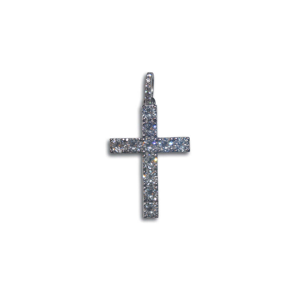 Classic Iced Cross Pendant (.925 Sterling Silver)