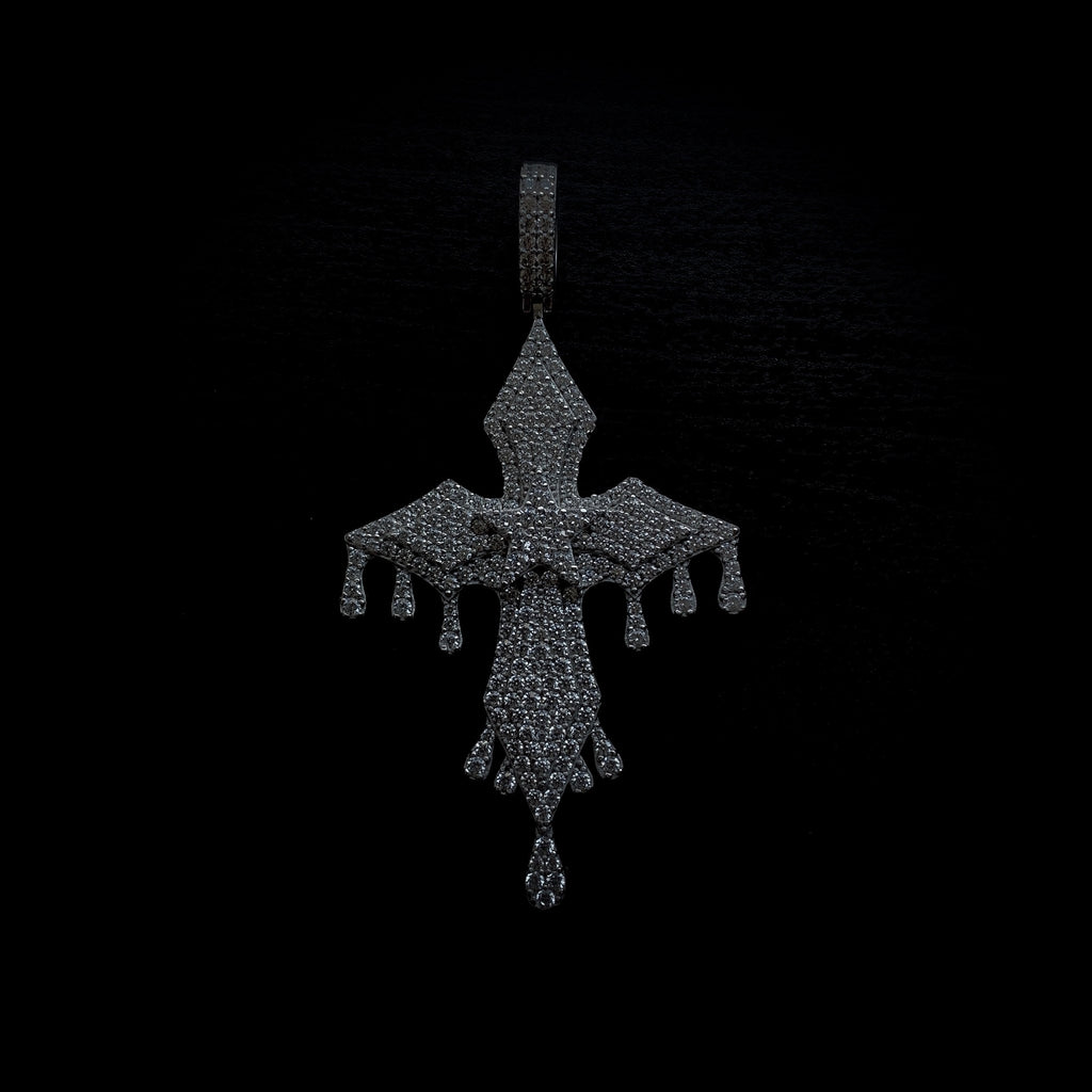 Drop #5: Iced Drip Cross (.925 Sterling Silver)