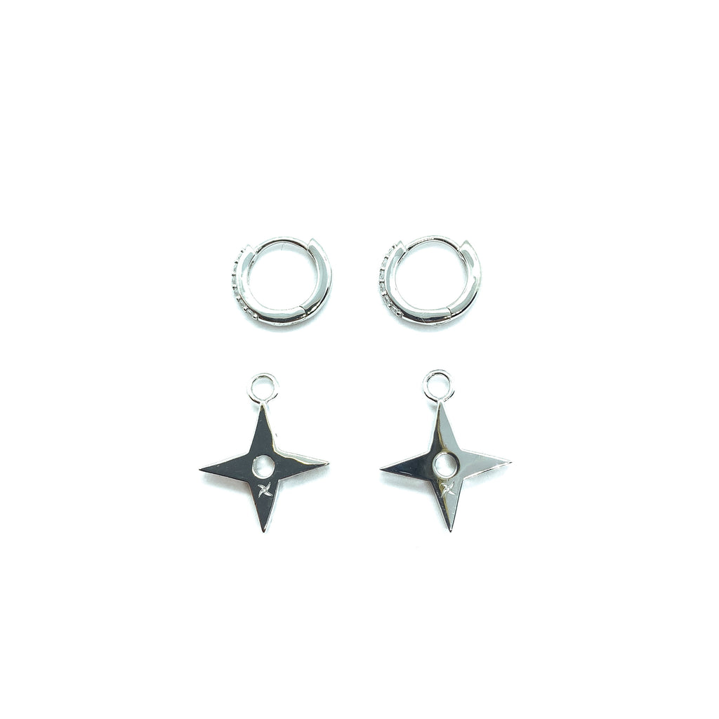 Kuyashii Ninja Star Earrings V2 (.925 Sterling Silver)