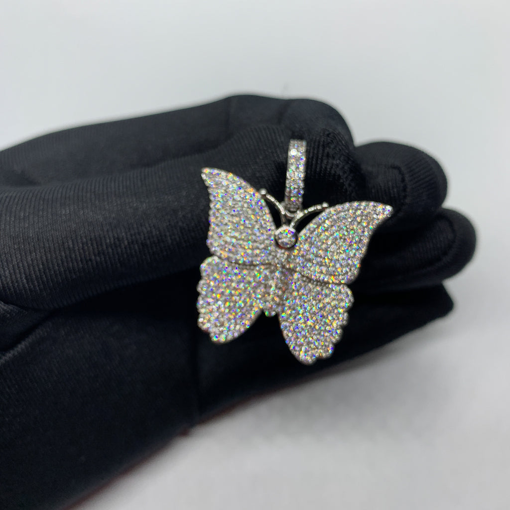 Iced Butterfly Pendant (14k White Gold) - Kuyashii Jewelry