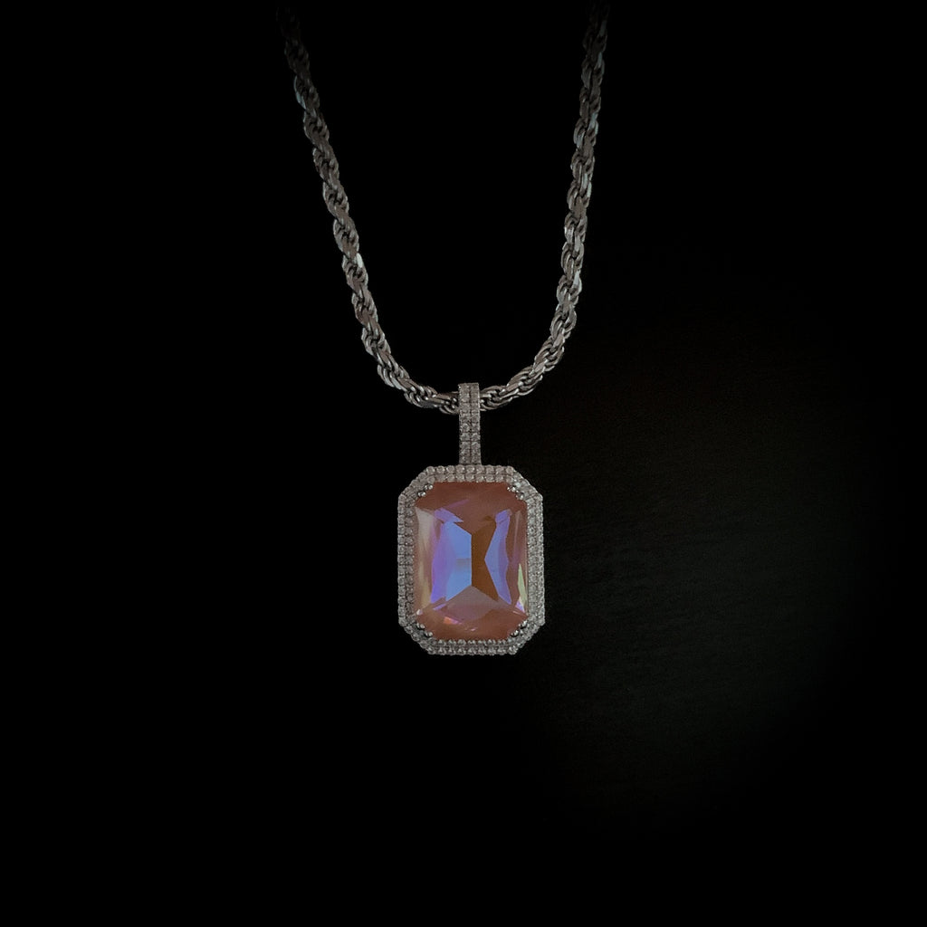 Drop #11: Fluorescent Gem Necklace- Peach (.925 Sterling Silver)