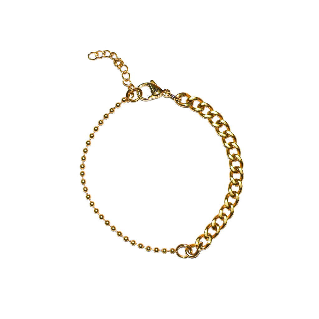 Cuban/Ball Chain Bracelet (18K Yellow Gold/Stainless Steel)