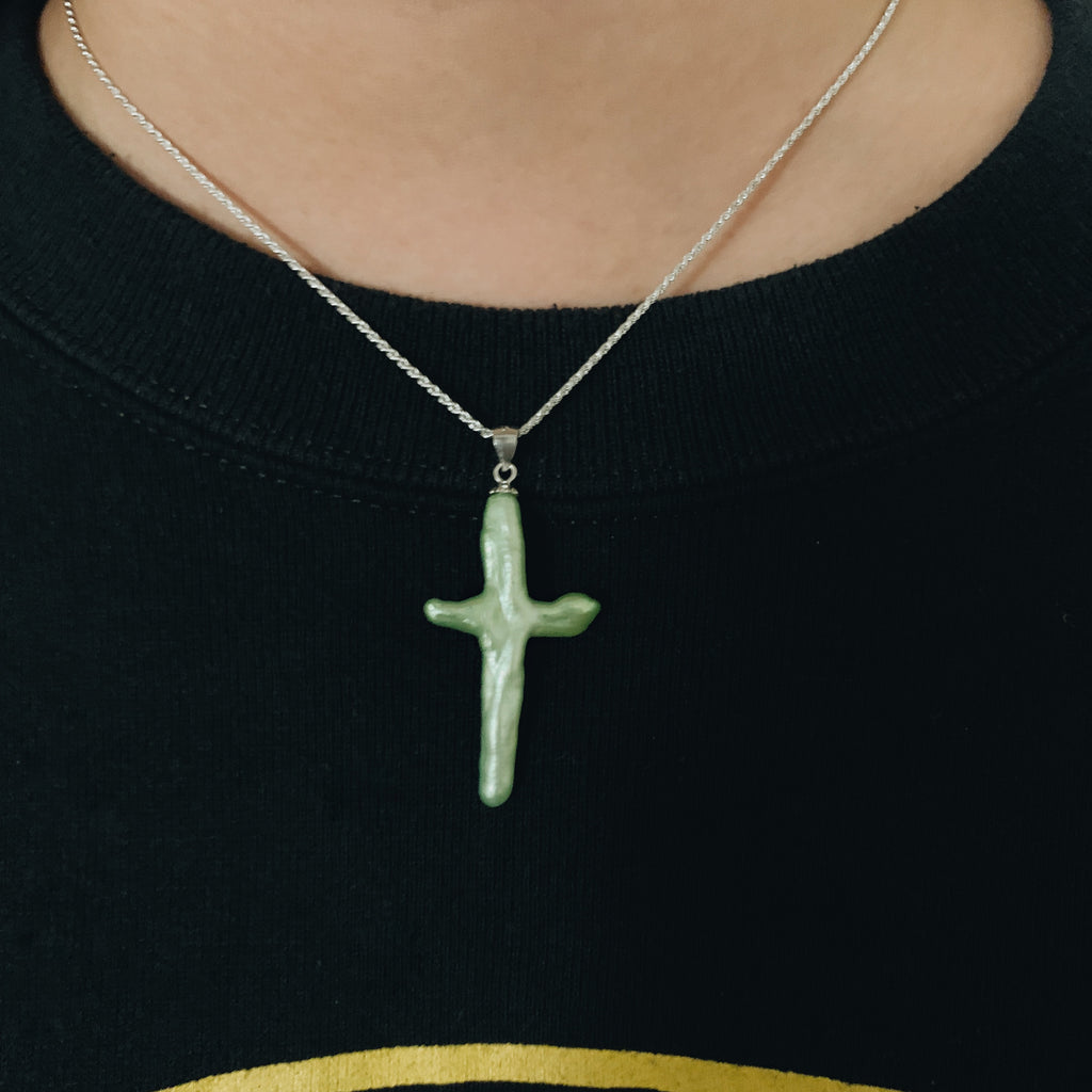 Baroque Pearl Cross Pendant (Slime Green)