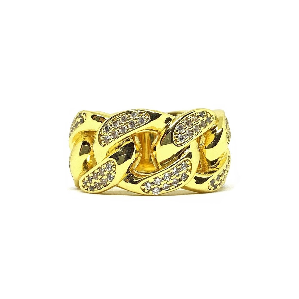 Iced Cuban Ring (14k Gold Plated) - Kuyashii Jewelry